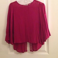 Burgundy top with lacey back Burgundy top with lacey back Chloe K Tops Blouses