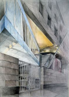Architect Michael Wilford, British Embassy, Berlin, drawing by Klara Ostaniewicz