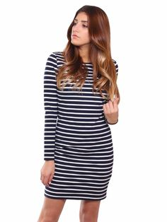 MICHAEL Michael Kors | Striped Dress in white & navy www.sabrinascloset.com