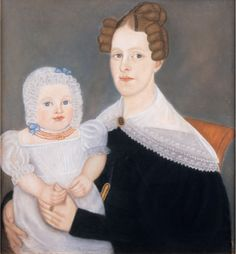 Micah Williams  Double portrait of a mother holding her baby  Probably Monmouth county, New Jersey, circa 1825, Private collection