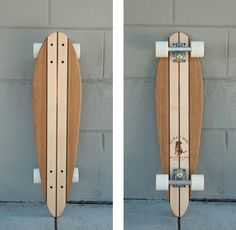 Reclaimed Wood Skateboard - Hand crafted skateboards made from up-cycled maple, oak, koa, and walnut. The shape of the boards are reminiscent to early skateboard design and have a nostalgic aura about them. All boards come complete with Penny wheels, trucks, and bearings. #madeinSF #rideinstyle #MakersMarket