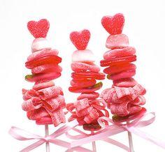 Valentines candy kabobs