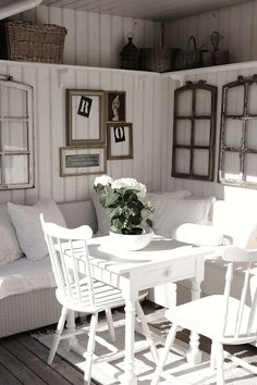 Vintage Interior... I love the windows in a windowless room & white on white. I love everything about this room!