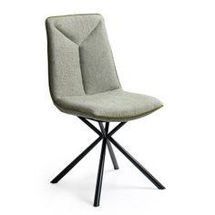 Marlou stoel met zwarte metalen 4 poot. Afgebeeld in Orlando stof mint met bies touch groen. Leverbaar in heel veel kleuren stof, kunstleer en echt leer. Vanaf € 189,-.