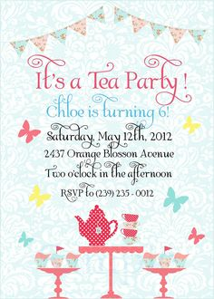 PRINTABLE Tea Party Invite