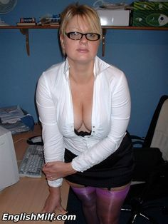 English milf secretary in purple nylon stockings.