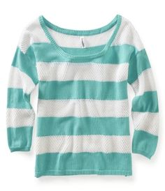 Turquoise and white striped top