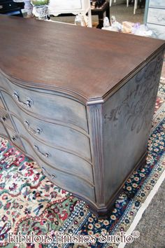 A Chest Turned Powder Room Vanity, and Buffet In A Killer Custom American Paint Blend Chalk Paint Furniture, Custom Furniture, Vintage Furniture, Furniture Refinishing, Furniture Update, Furniture Projects, Furniture Makeover, Painted Buffet, Painted Chest