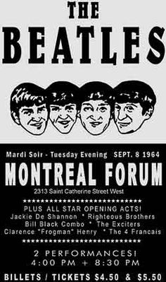 The Beatles, Montreal Forum, Canada, Quebec, concert Beatles Bible, Les Beatles, Concert Tickets, Concert Posters, Theatre Posters, Event Posters, Ringo Starr, George Harrison, Paul Mccartney