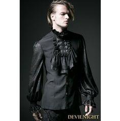 Black Gothic Long Sleeves Chiffon Embossed shirt For Men $118.00