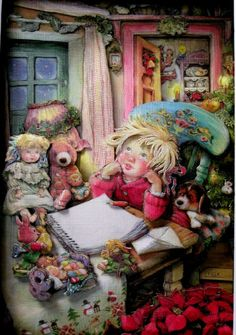 Drawings for children Lisi Martin works) Christmas Tale, Vintage Christmas, Xmas, Spanish Artists, Holly Hobbie, Thomas Kinkade, Vintage Artwork, Nouvel An, Christmas Pictures