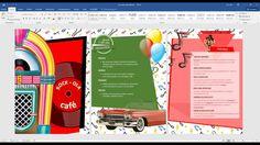 09 Crear carta menú de los 60 con word 2016 (Textos, viñetas y alinear)