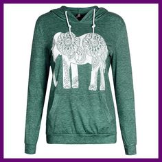 Fashion Women Hoodies Long Sleeve Print Elephant Sweatshirt Casual Basic  Mujer Hoodies B6223E