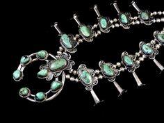 175g Vintage Navajo Sterling Silver Squash Blossom Necklace