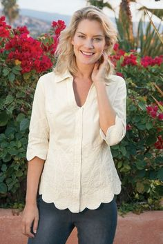 """Light-years beyond your basic button-down! Sublime details - from the dipped neckline and pretty tonal embroidery to the scalloped trim at the 3/4 sleeves and curved hem - give this shirt fabulous feminine style. And thanks to jersey knit side panels and curved seaming, it has the world's most flattering fit. Cotton; cotton/spandex. Misses 25-1/2"""" long. Work of Art Shirt - Item #2AG93"""