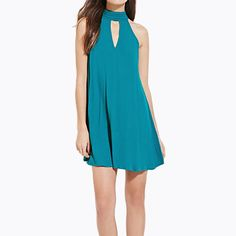 HDY Haoduoyi Blue Sexy Back Strap Cut Out Halter A-line Dress Off Shoulder Sleeveless Mini Dress Casual Slim Party Dress
