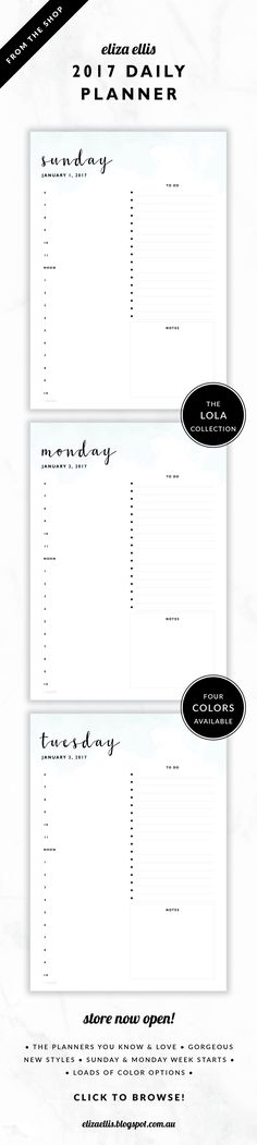 2017 Printable Day to a Page Planner // The Lola Collection by Eliza Ellis. Delicate watercolor design with pretty hand drawn calligraphy font. Includes appointments times, notes section and to do list. Bonus matching planner covers and annual calendar included. Available in 4 colors – lilac, viola, snowdrop and peony. Monday and Sunday week starts included. Documents print to A4 or A5.
