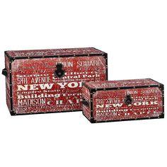 Household Essentials New York 2-pc. Storage Trunk Set - Jumbo/Medium, Med Red