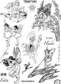 FAIRIES - elves, magical beings - set of unmounted rubber stamps by Cherry Pie. $24.00, via Etsy.