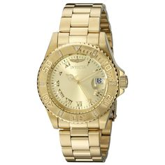 Invicta 12820 Women's Pro Diver Diamond Accented Bezel Gold Dial Yellow Gold Steel Dive Watch
