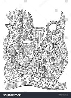 Anchor In Coral Reef Adult Coloring Page Underwater Vector Illustration Black Line Bordered Doodle