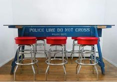 Police barrier table. @terri I don't know how you'd get one these but would cool for cook outs.