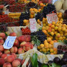 FRUIT MARKET - Local markets are a daily tradition in Tuscany, where artisan purveyors travel with their wares from one town to the next. Stock up on fresh fruit, cheeses, vegetables, meats, and seafood while socializing with traveling market caravaners.