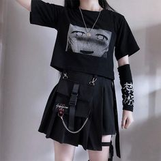 Pocket Irregular Skirt Fashion Harajuku Gothic Retro Chain - Pocket Irregular Skirt Fashion Harajuku Gothic Retro Chain Source by xmoonrosesx - Gothic Outfits, Edgy Outfits, Mode Outfits, Grunge Outfits, Girl Outfits, Egirl Fashion, Grunge Fashion, Gothic Fashion, Korean Fashion