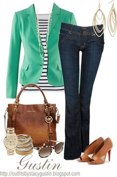 *RALPH LAUREN striped long sleeve top* Awesome. might go with jacket with no lapel, less blazer-y""