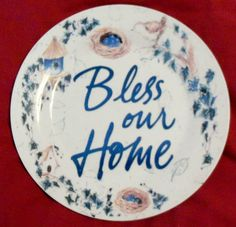 Bless Our Home Decorative Plate Bird, Birdhouse & Nest in Blues