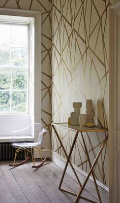 Sumi - A contemporary brushed geometric wallpaper in neutral and gold. From the Momentum wallcoverings volume 3 collection