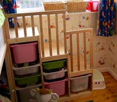 Stairs using Trofast unit and an old cot side - kura bunkbed ikea hack - Ikea Decor Kura Ikea, Ikea Kura Hack, Trofast Hack, Ikea Hacks, Ikea Bunk Bed Hack, Ikea Stuva, Toddler Bunk Beds, Kid Beds, Bunk Bed Crib