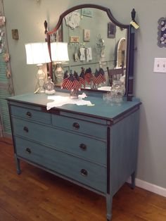 Handsome old dresser painted with Miss Mustard Seed's Kitchen Scale color.