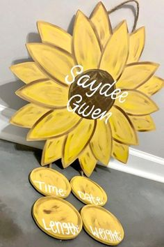 Sunflower Nursery, Sunflower Room, Sunflower Baby Showers, Sunflower Door Hanger, Baby Door Hangers, Baby Girl Elephant, Baby E, Baby Planning, Baby Footprints