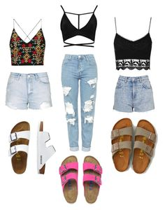 """""""Multi Outfit ft. Birkenstocks & Bralettes✨"""" by angeliqueamor on Polyvore featuring Boohoo, Birkenstock, Topshop, TravelSmith and American Eagle Outfitters"""