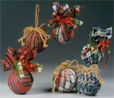 wrapped flannel ornaments  wish i would have seen these before i started my flannel ornaments. but i can still make a few more!