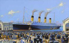 RMS Titanic arrives at pier 59. Artwork by James Flood.