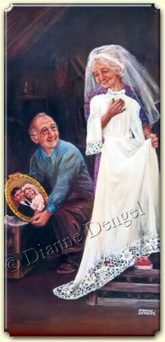 "Dianne Dengel ""Memories   - painting of old man & woman in attic with wedding dress, looking at portrait of selves young & newly married"