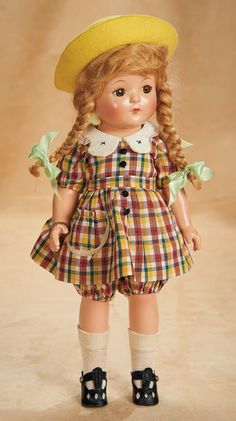 """American Composition """"Anne of Green Gables"""" by Effanbee 13"""" (33 cm.) Composition socket head,brown sleep eyes,mohair lashes,real lashes,arched brows,blonde mohair wig with bangs and braids,five-piece composition body. Effanbee Patricia (doll) circa 1934, Z"""