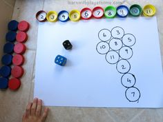 Learn with Play at Home: Fun Bottle Top Addition Game. Playful Maths