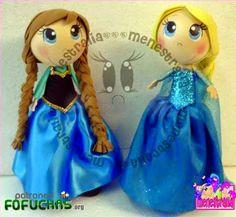 Patrones Fofuchas - fofucha Frozen Elsa Anna
