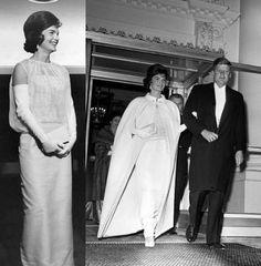 Um modelo com capa usado por Jacqueline Kennedy no Baile inaugural da presidência em 1961, em que a produção inteira do look foi feita pela própria primeira-dama.
