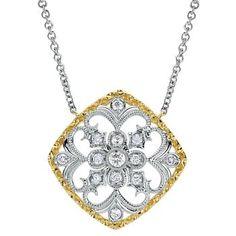 Gabriel & Co. 14K Two Tone .25 Ctw Diamond Filagree Pendant with Chain #diamondjewelry #diamonds #jewelry
