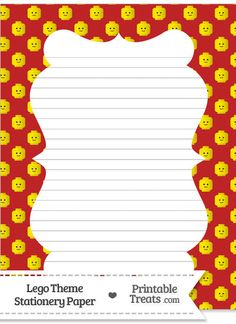 Red Lego Theme Stationery Paper--- https://www.pinterest.com/printabletreats/lego-theme-printables/
