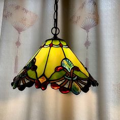 Stained Glass Lamp Shades, Stained Glass Light, Tiffany Stained Glass, Tiffany Glass, Stained Glass Chandelier, Green Pendant Light, Tiffany Pendant Light, Ceiling Pendant, Pendant Lighting