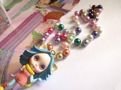 Wonderland Kitty Clown Lolita Style Princess Cosplay Big Eyed Blythe Doll Rainbow Necklace Last Piece. $65.00, via Etsy.