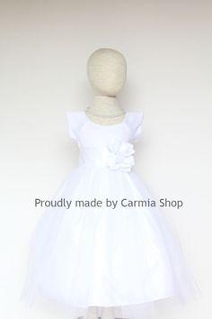 Flower Girl Dresses - WHITE with White (FRBP) - Easter Wedding Communion Bridesmaid - Toddler Baby Infant Girl Dresses on Etsy, $22.99