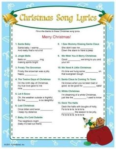 bb posted Christmas Song Lyrics fill-in-the blanks game. I bet this would bring some laughs! :) to their -christmas xmas ideas- postboard via the Juxtapost bookmarklet. Christmas Quiz, Christmas Trivia, Merry Christmas, Christmas Printables, Family Christmas, Christmas Traditions, Winter Christmas, Christmas Ideas, Holiday Ideas