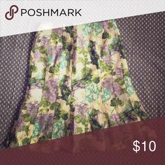 Floral Printed A-Line Skirt Purple and blue Printed skirt only used twice Skirts A-Line or Full