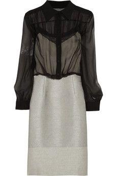 Alberta Ferretti Silk-chiffon and tweed dress   NET-A-PORTER